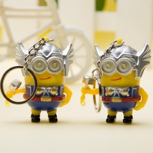 New Minions Toys Cartoon Movie Despicable Me 2 3D Mini Minion Keychains PVC Action Figure Toys Retail And Wholesale