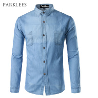 Denim Shirt Men 2017 Brand New Classic Long Sleeve Pocket Shirts Casual Slim Fit Single Breasted