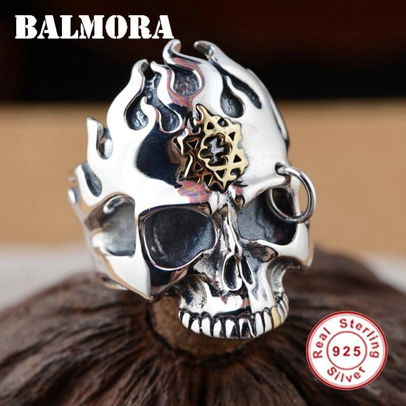BALMORA nouveau authentique 925 en argent Sterling Punk crâne anneaux pour femmes hommes cadeaux fête Cool bijoux crâne Thai bague en argent