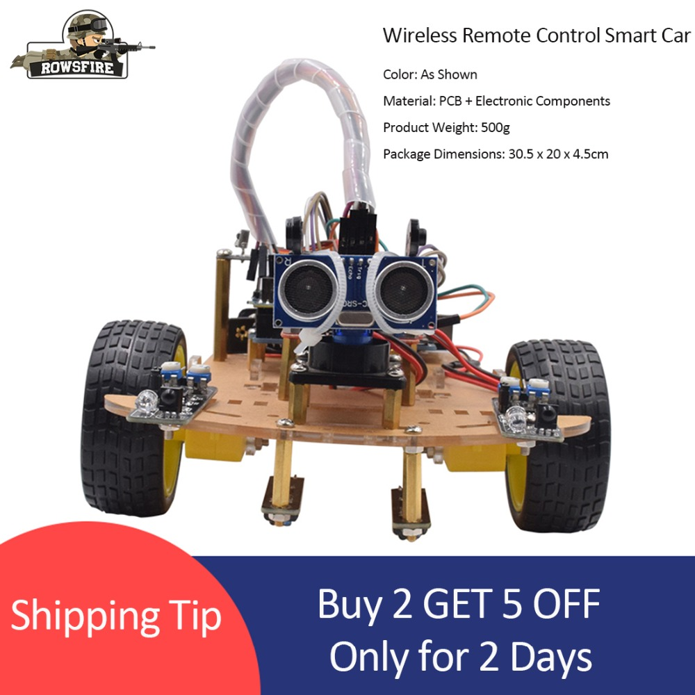 Rowsfire Wireless Remote Control Smart Car Infrared Control Robot Car For Arduino High teach Programmable Toy