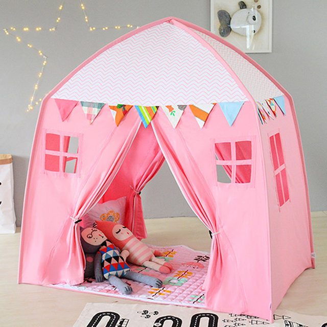 Children Tent 2 Doors Playhouse Folding Teepees Toddler Tent Cotton Canvas Play House for Baby Tipi Sleeping Room : toddler tent - memphite.com