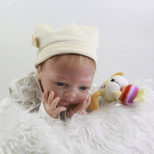 Rooted Mohair Blue Eyes Reborn Baby Dolls 20 Inch 50 cm Realistic Newborn Silicone Babies Toy With Clothes For Collection