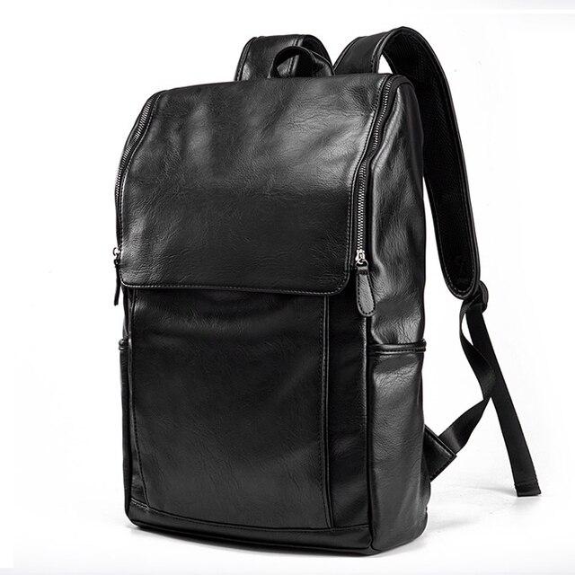 "Luxury Brand Backpack Men Antitheft School Bag Leather Travel Bag Male Casual Bagpack For Teenager 14"" Laptop Rucksack mochila"