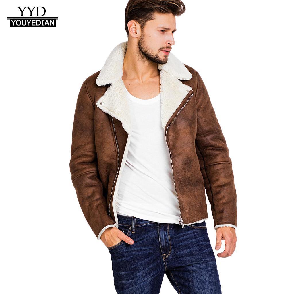 2018 Dicke Jacke Für Männer Herbst Winter Warme Pelz Liner Zipperlapel Leder Zipper Outwear Top Mantel Winddicht Mann Kleidung