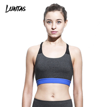 LUKITAS Women Push Up Shockproof Sexy Mesh Splice Breathable Elastic Quick Dry Removable Pad Gym Running Workout Yoga Sports Bra