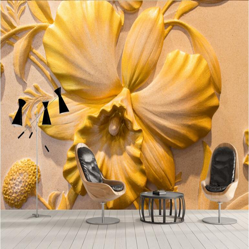 Custom Wallpaper Mural Artist Embossed Floral Wall Mural TV Wall Furniture 3d Wallpaper for Bedroom Living Room Paint Ideas custom mural wallpaper modern 3d hand painted watercolor leaf mural living room bedroom tv background wall paper wall painting