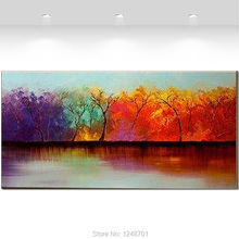Large Hand Painted Modern Abstract Color Tree Landscape Oil Painting on Canvas Living Room Wall Art Pictures Pianting Home Decor