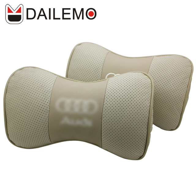 Dailemo Gold Car Styling Seat Cover Neck Support 2 Pcs/set Leather Headrest For Audi A1 A3 A4 a6 a5 A7 A8 Q3 Q2 Q5 Q7 S3 S4 S5