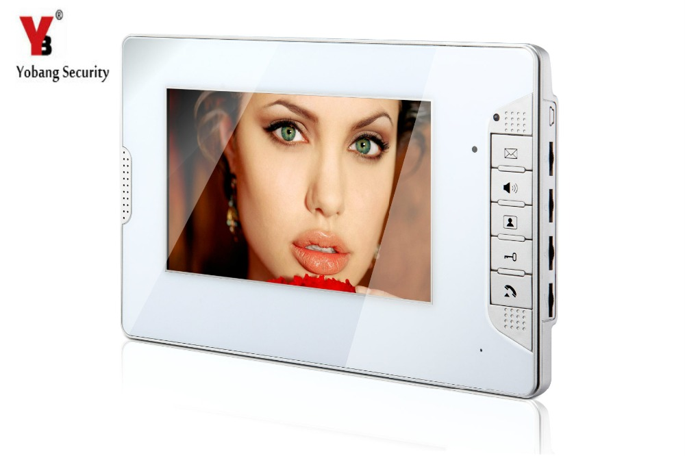 YobangSecurity White 7 Inch Color TFT LCD Screen Monitor Wired Video Doorbell Camera System for House Office Apartment