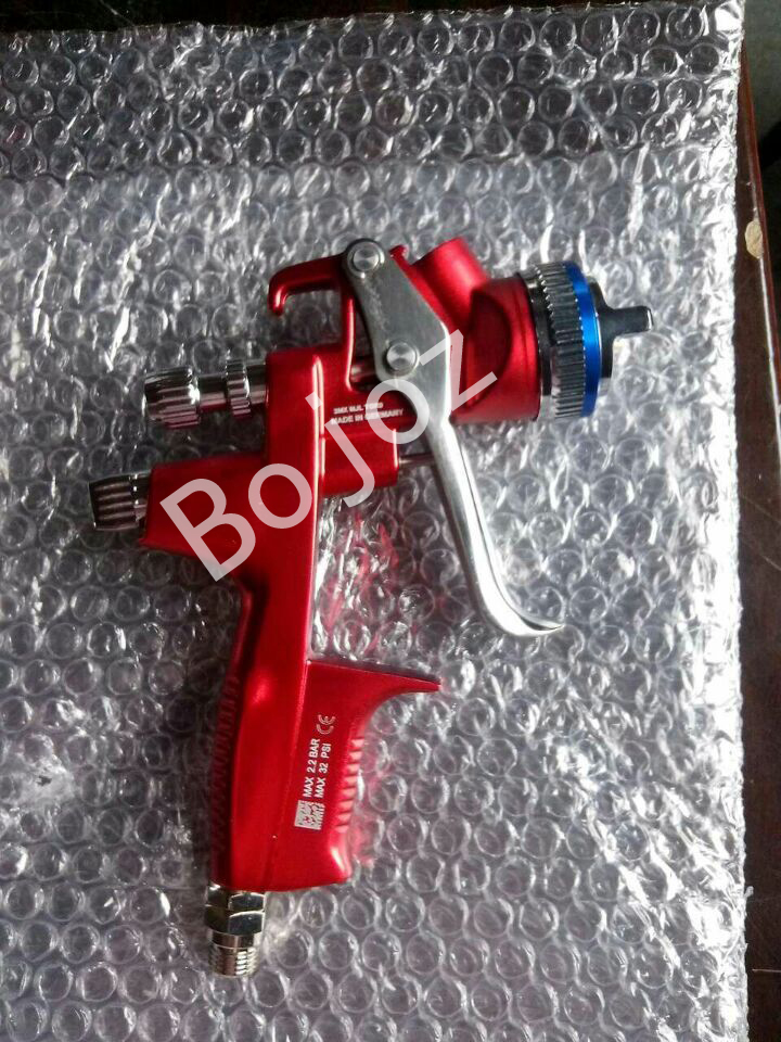 Free Shipping High quality Red- Limited Edition HVLP Paint Spray Gun Gravity feed 1.3mm  with PVC 600ml cup for Car body