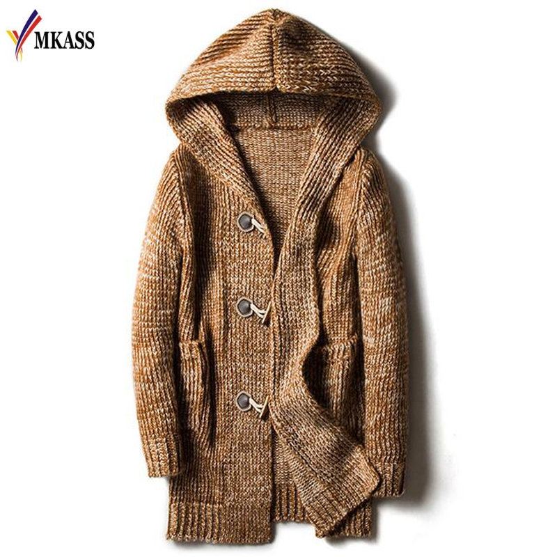 Autumn Winter Loose Long Mens Cardigans Sweaters New Fashion  Jumpers Mens Hooded Sueter Knit Sweater Jersey Sudaderas