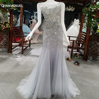 LS17925 Ballkleider Grey Long Evening Party Dress For Graduation O Neck Prom Dress Sexy Backless Sparkle