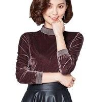 Elegant Solid Color Basic Tees T Shirt Women Long Sleeve Stand Collar Thicken Velvet T Shirt Female Casual Velvet T Shirt 7724