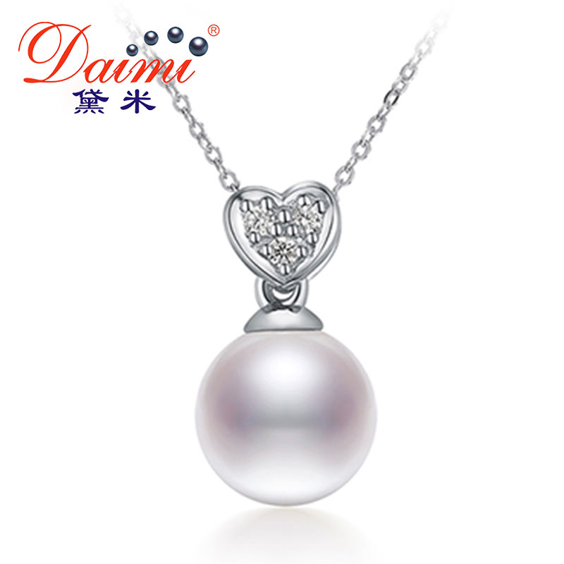 DAIMI Shiny Heart Pendant 7-8mm White Pearl Pendant Necklace 925 Silver Choker Pendant Valentine's Day Gift For Women new silicone r7s led lamp 10w 15w smd 3014 78mm 118mm led r7s light bulb 220v energy saving replace halogen light lampada led