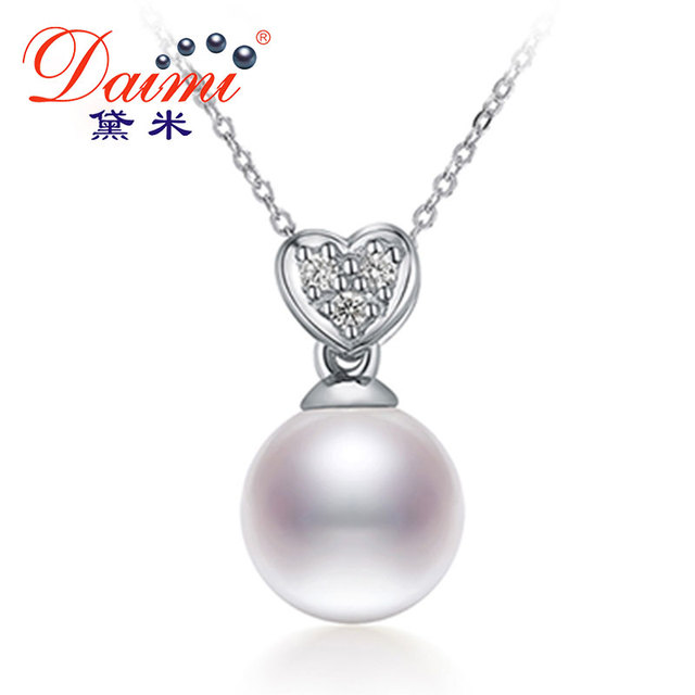 DAIMI Shiny Heart Pendant 7-8mm White Pearl Pendant Necklace 925 Silver Choker Pendant Valentine's Day Gift For Women