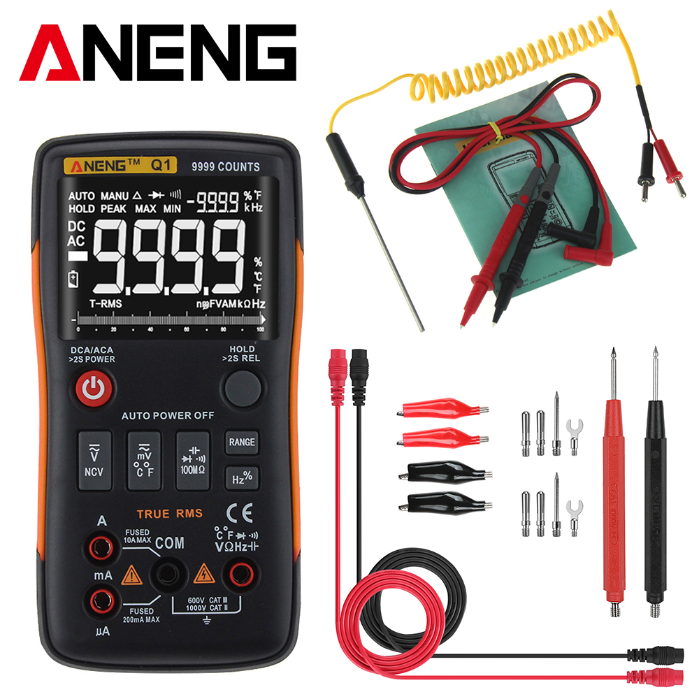 ANENG Q1 True-rms Multimètre Numérique Automatique Bouton 9999 Compte Graphique à Barres Analogique AC/DC Tension Ampèremètre Courant ohm Transistor Teste