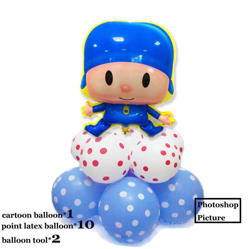 (11 pçs/lote) balões balões foil para festa de aniversário do bebê dos desenhos animados Pocoyo 12 polegada ponto balões de festa balões de látex de Natal ano novo