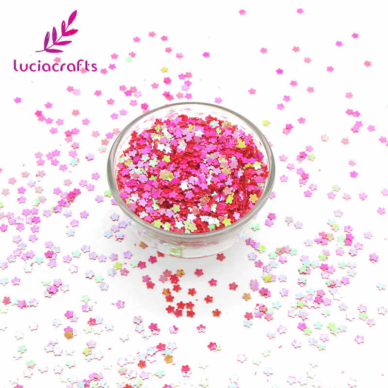 Lucia crafts 10g/20g 3mm Flower Shape Flake Sparkles Rainbow Sequin Wedding/Party/Nail/Garment Confetti DIY Decoration D0111