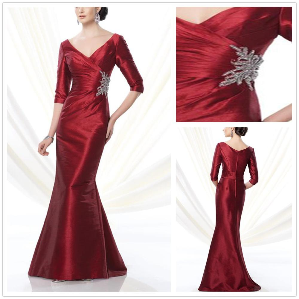 2019 New Designed Plus Size Long Taffeta Mother Of The Bride Dresses Floor-Length Beaded Groom Mother Dress Wedding Party Gowns