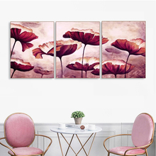Laeacco Canvas Painting Calligraphy Vintage 3 Panel Floral Wall Art Abstract Poster and Print for Home Living Room Bedroom Decor laeacco canvas calligraphy painting abstract 5 panel unicorn wall art animal poster and print nordic home living room decoration