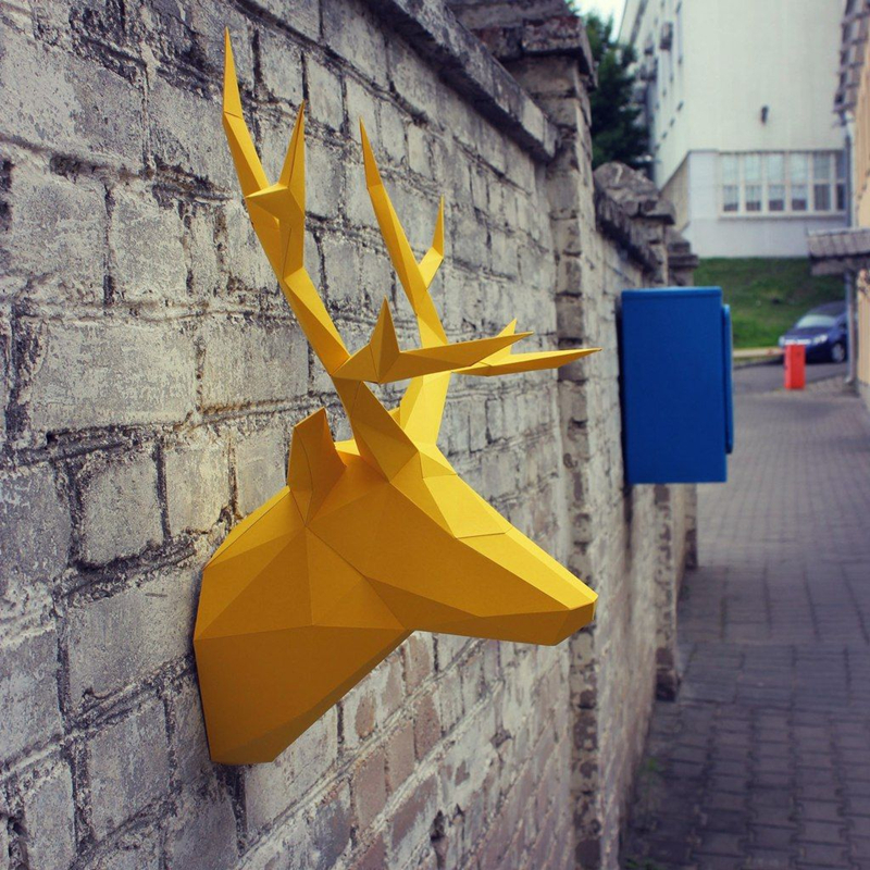 4 Colors DIY Deer Elk Head Paper Model Puzzles Toy For Home Restaurants Stores Bars Waterproof Educational Paper Folding Model