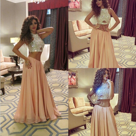 2 two piece prom dress new elegant long sexy evening party ball prom gown formal 2015 evening dresses gowns custom made