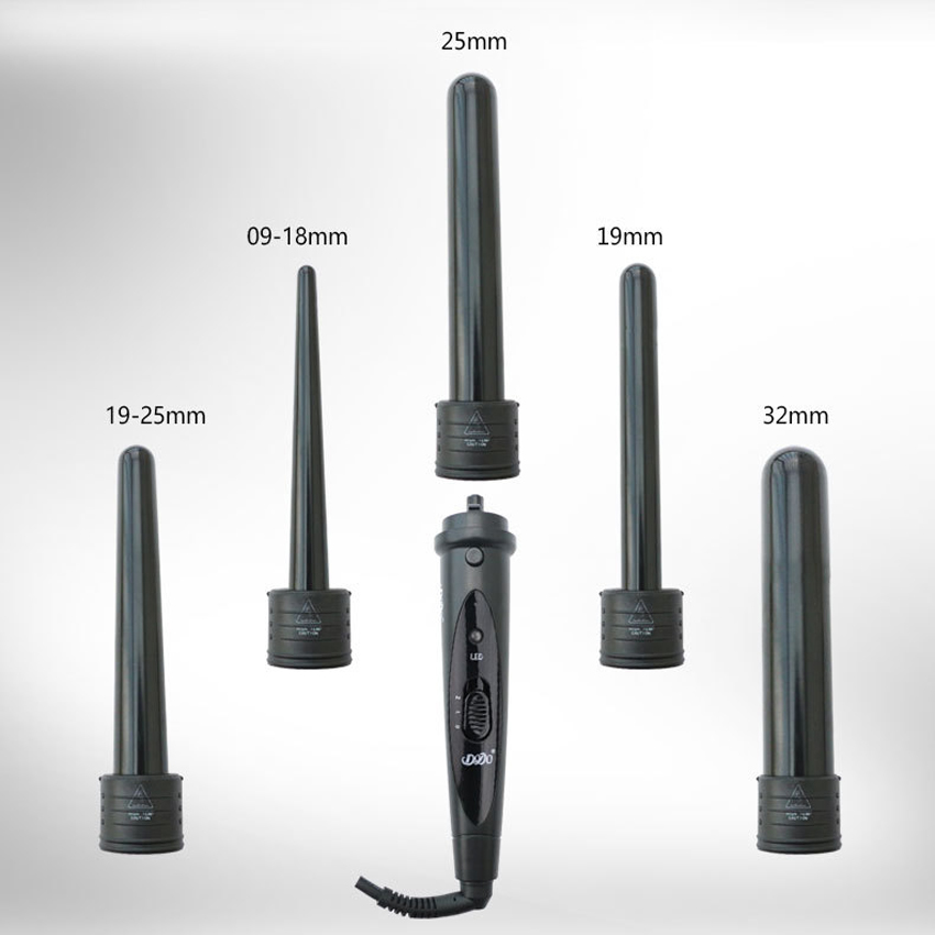 5 In 1 Hair Curlers Care Styling Curling Wand Interchangeable 3 Parts Clip Hair Iron Curler Set Curler Hair Styles Tool