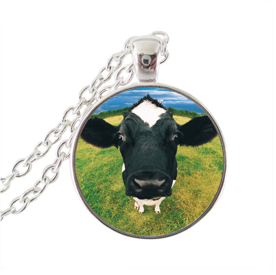 Cow pendant necklace animal jewelry glass cabochon choker neckless silver chain necklaces milk cow jewellery wholesale