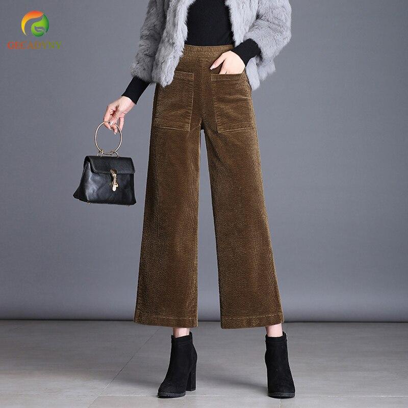 2018 Autumn Winter Corduroy   Pants   High Waist Trousers for Women Plus Size Velvet Casual   Wide     Leg     Pants   Female Pantalon Femme 4XL