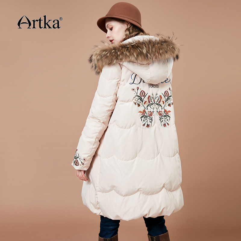 ARTKA 2018 New Embroidered Large Raccoon Dog Fur Detachable Collar A-line Long Female 90% White Duck Down Coat ZK10880D