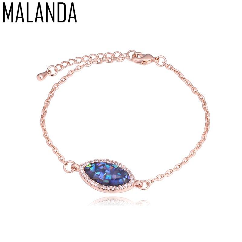 MALANDA Crystal From Swarovski Zircon Bracelets Bangles For Women Fashion Gold Color Wedding Bracelet Jewelry Gril Gift 2018 New