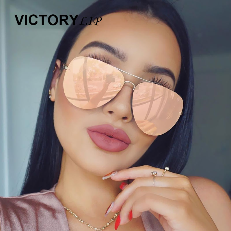 VictoryLip 2017 Rose Gold Solglasögon Dam Aviation Mirror Märke Designer Metal Frame Solglasögon Flat Lens Pilot Hot Dropship