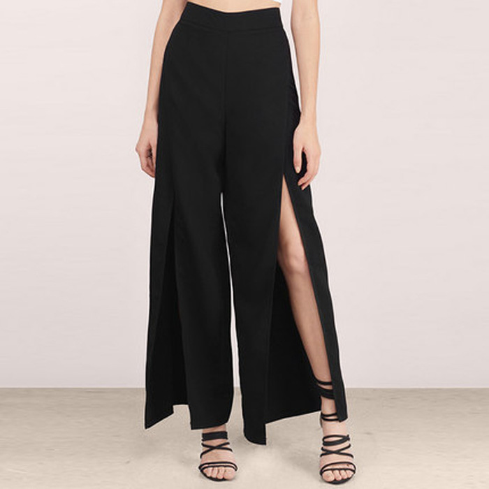 Summer Western Style Fashion Cute SML XL XXL Solid Color Black High Waist High Slits Woman's Casual   Wide     Leg     Pants   Lady Trousers