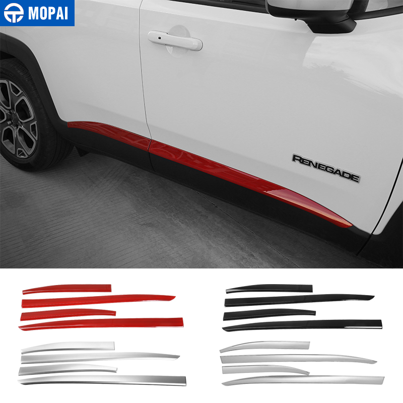 MOPAI ABS Car Body Door Side Molding Decoration Cover Trim Stickers for Jeep Renegade 2015 Up Exterior Accessories Car Styling mopai new arrival car exterior rear triangle glass decoration cover stickers for jeep compass 2017 up car styling