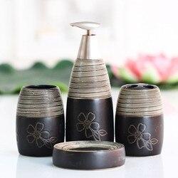 4 pcs/zwarte en witte lijn patroon keramische pak creatieve toiletartikelen tandenborstel zeepkist home decor badkamer accessorie