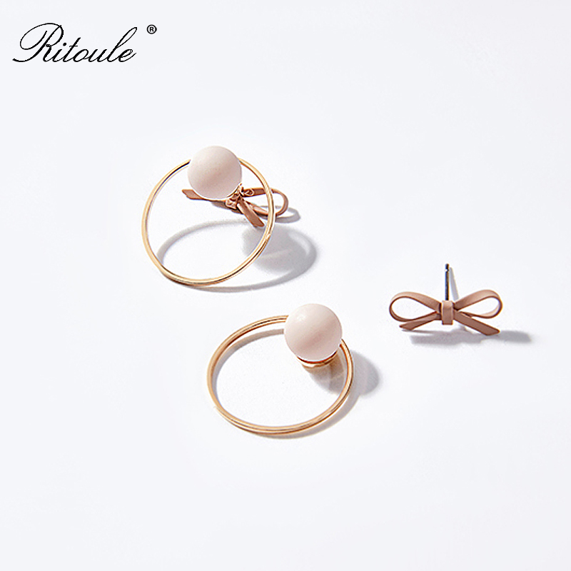 Diemei asymmetric bow earrings earrings temperament Harajuku girls Circle Earrings Jewelry small ear ring