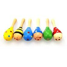 1 шт. деревянный музыкальный инструмент maracas, детские погремушки, песочный молоток, деревянные игрушки для новорожденных, подарки для маленьких детей, отправляются случайным образом