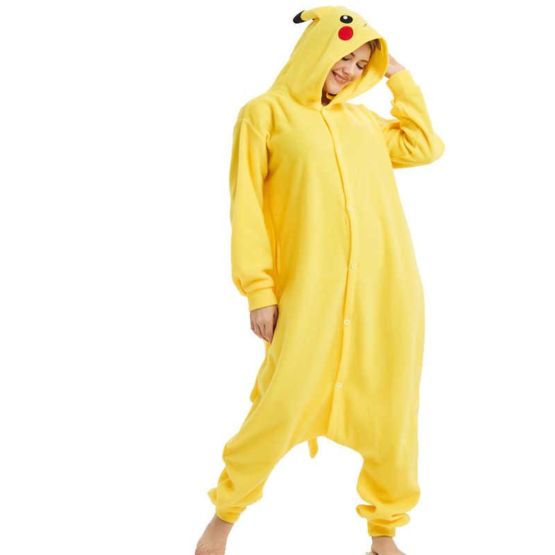 Забавные Покемон Пикачу Кигуруми для костюм для косплея для взрослых Пижама-комбинезон  с героями мультфильмов 89733c2752a49