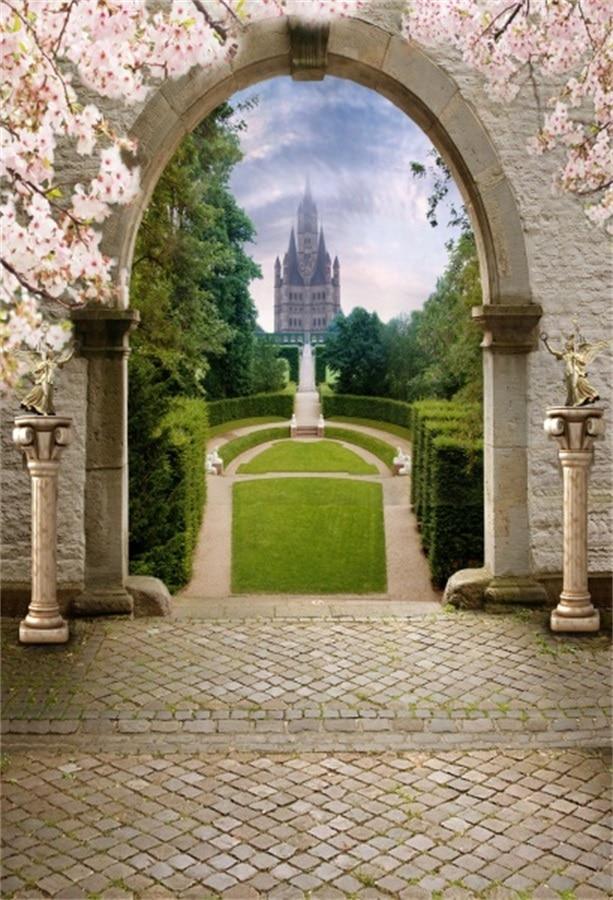 Laeacco Castle Garden Entrance Flower Arch Door