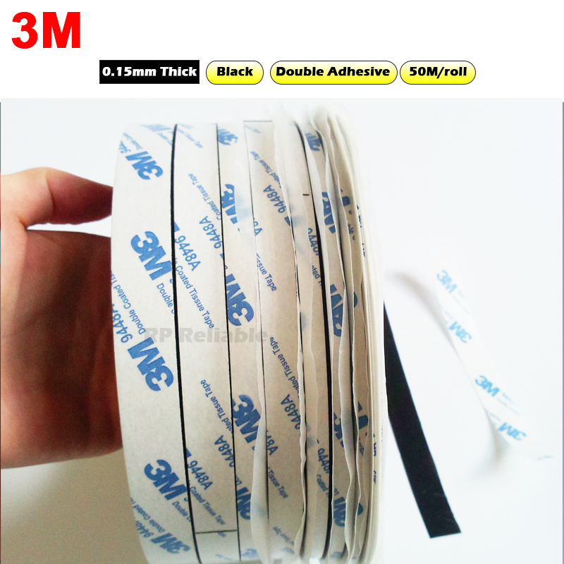 Original 3M Double Sided Adhesive Black Tissue Tape For Cellphone Frame LCD Repair, Widely Use, 50M/roll