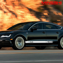 1 пара Audi A3 A4 A5 A6 A7 Q2 Q3 Q5 серии автомобилей сбоку юбка линия талии Стикеры автомобильные аксессуары Декали