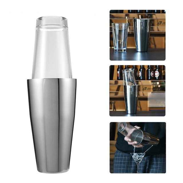 3bf9d311d9f2 Professional Stainless Steel Cocktail Maker Shake Cocktail Shaker Boston  Wine Martini Drink Mixer Boston Style Shaker