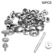 50 шт набор кнопочных кнопок из нержавеющей стали с инструментами