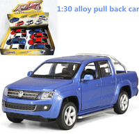 1 30 Alloy Pull Back Car High Simulation Pickup AMAROK Metal Diecasts Toy Vehicles Musical Flashing