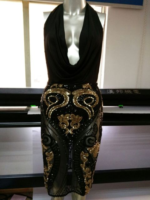 Victorian plunge cowl neck sequin bodycon dress