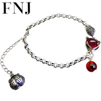 FNJ Fox Ball Charm Bracelet 925 Silver Yellow Chalcedony Red Zircon Stone 20.4cm Chain S925 Silver Bracelets for Women