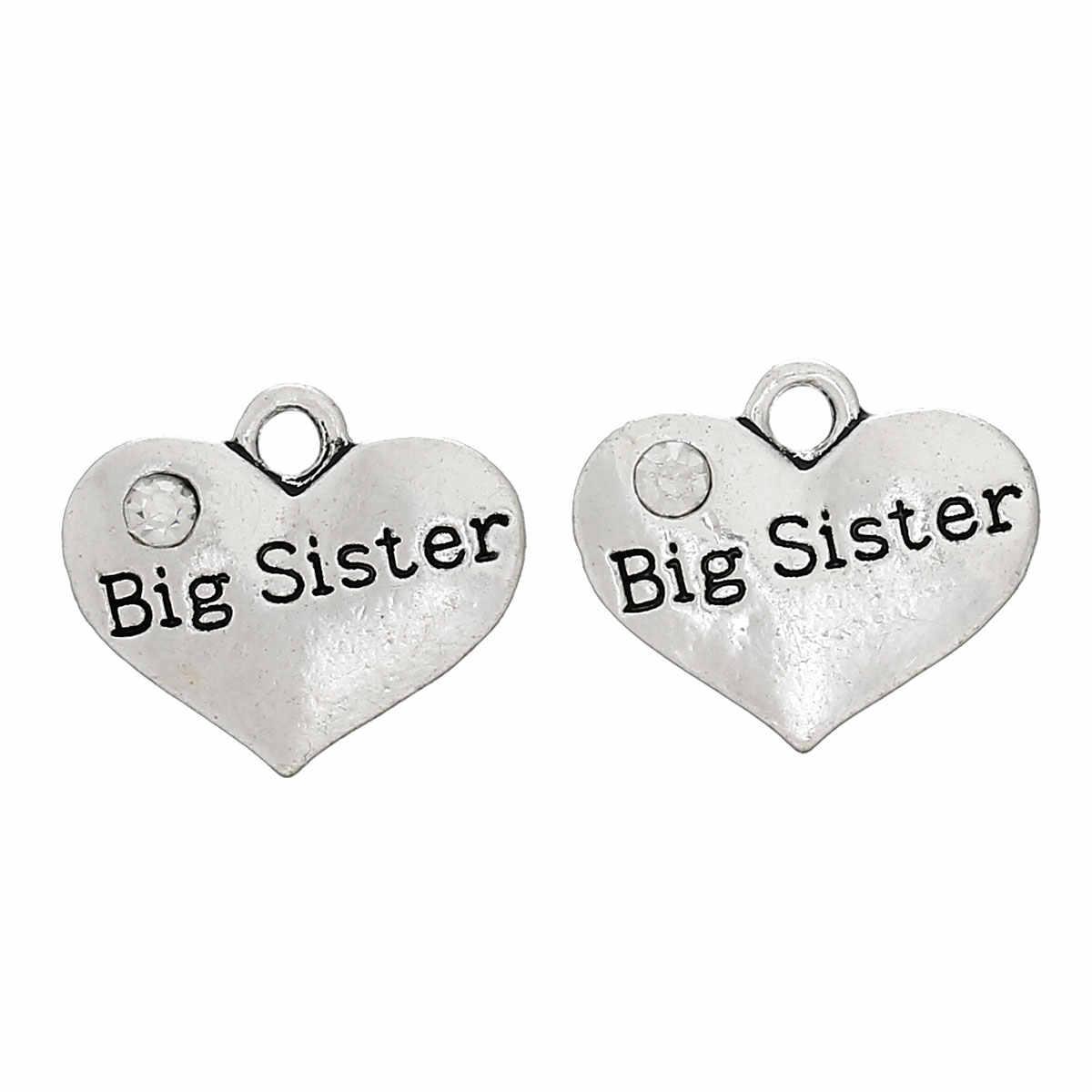 "Zinc Metal Alloy Charm Pendants Heart Antique Silver Message"" Big Sister "" Clear Rhinestone 17mmx14mm,2 PCs new"