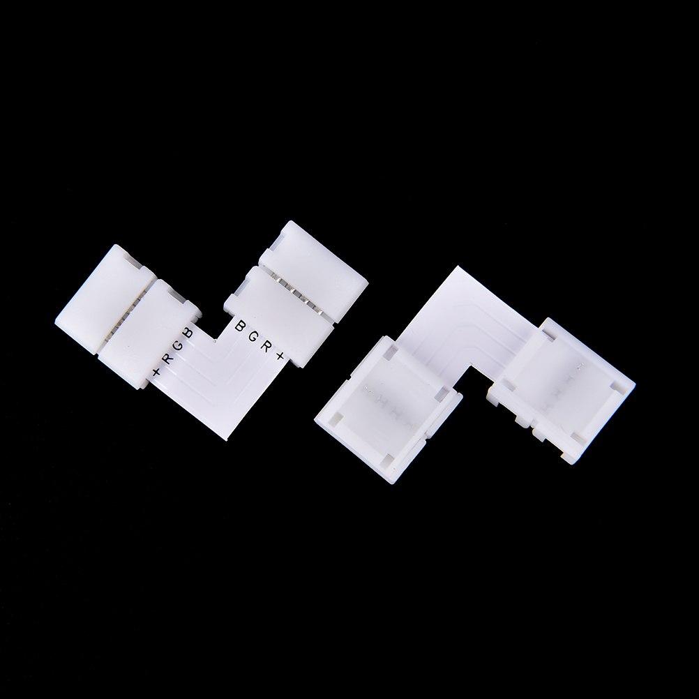 Белый 4-контакт 10 мм RGB КПБ светодиодный свет полосы разъем без пауз раздеться Solderless адаптер для SMD 3528 2835 полосы