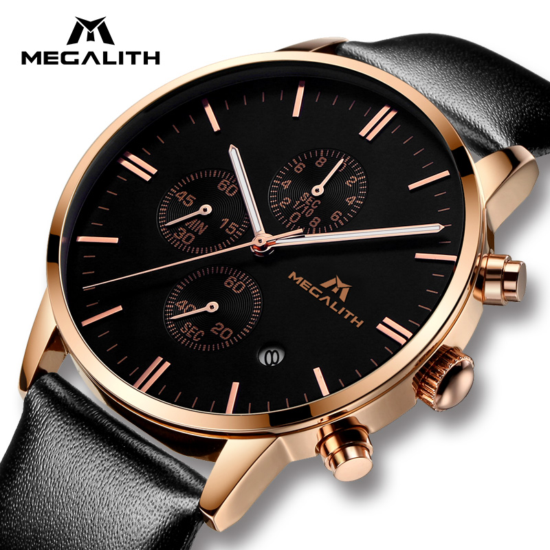 MEGALITH Men Watches Luxury Design Analogue Quartz Wrist Watch Sports Waterproof Date Calendar Leather Gold Case Watch Men Clock fashion casual watch men civo waterproof date calendar analogue quartz men wrist watch brown genuine leather watch for men clock