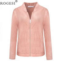 Rogesi 2017 Women Autumn Casual Coats Outwear Women S Jackets Female Long Sleeve Zipper Baseball Basic